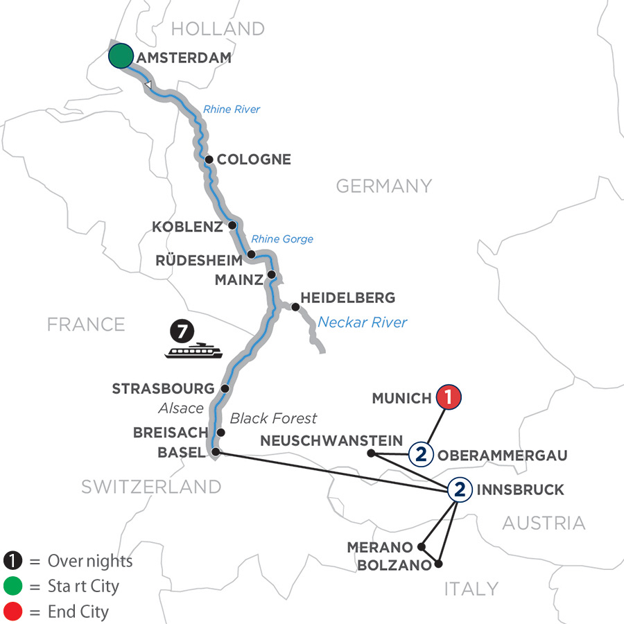 Itinerary map of Romantic Rhine with 2 Nights in Innsbruck & Oberammergau 2020 - 13 days Amsterdam to Munich