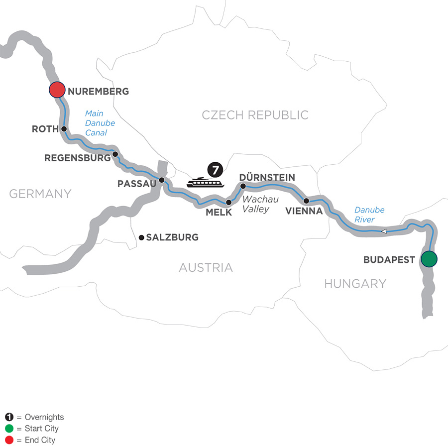 Itinerary map of The Blue Danube Discovery – Cruise Only 2019 Budapest to Nuremberg