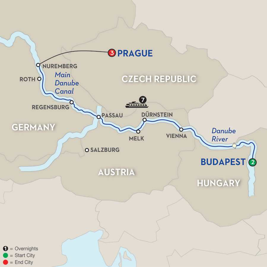 Itinerary map of The Blue Danube Discovery for Golfers 2019 Budapest to Prague