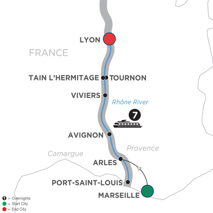 Itinerary map of Active Discovery on the Rhône – Northbound 2019 Arles to Lyon
