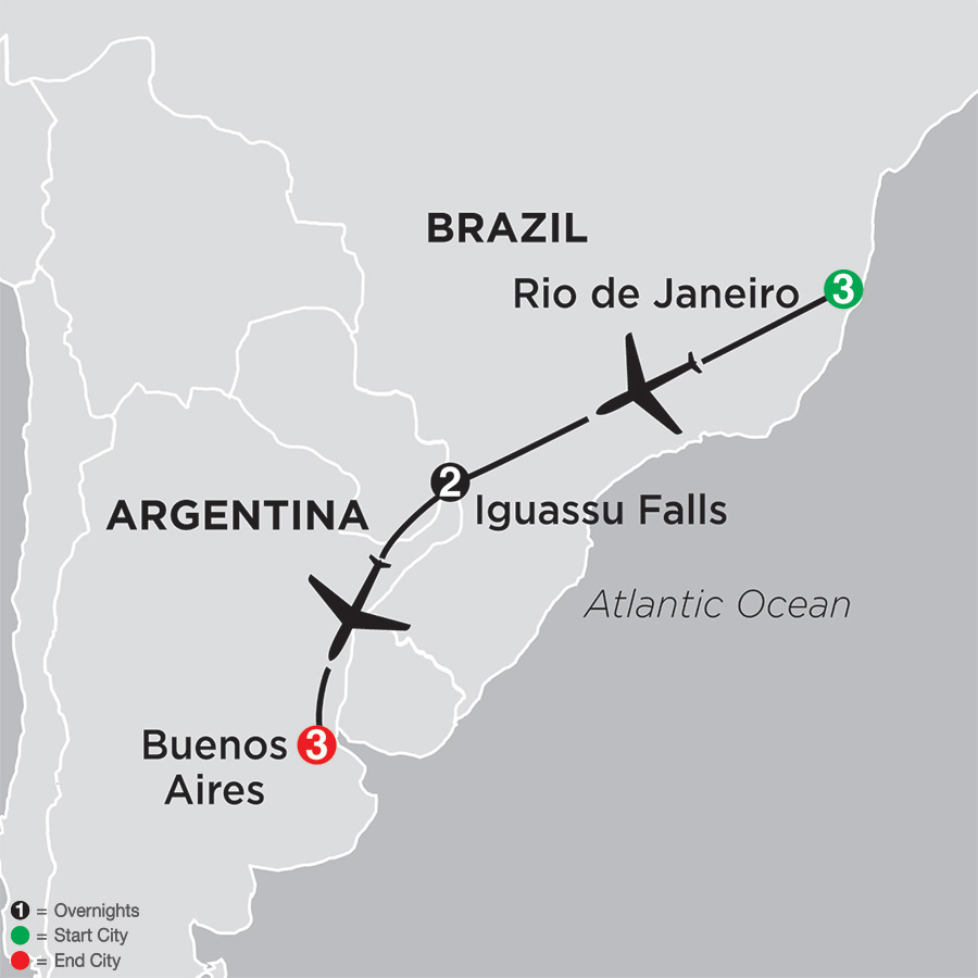 Itinerary map of The Best of Brazil & Argentina 2018 - 9 days from Rio de Janeiro to Buenos Aires
