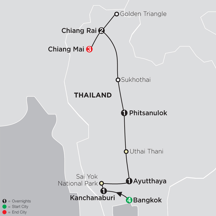 Itinerary map of Thailand Experience 2018 - 13 days from Bangkok to Chiang Mai