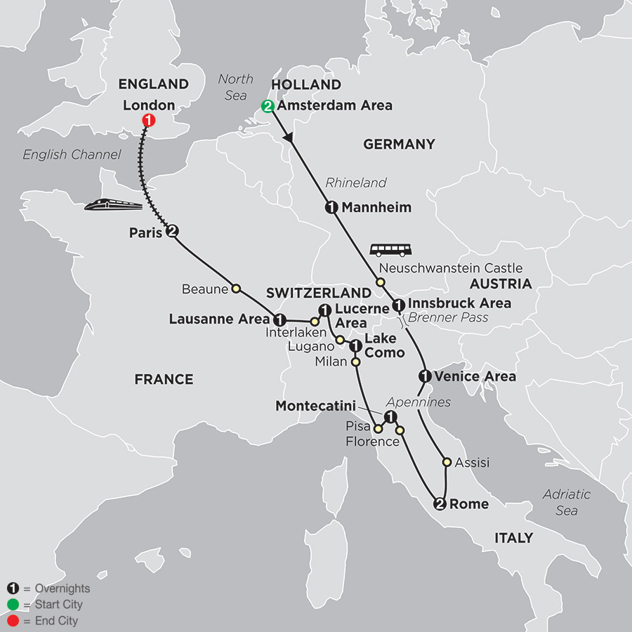Itinerary map of Europe