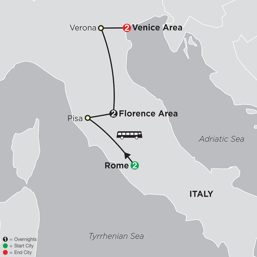 Itinerary map of Rome, Florence, Venice 2018 - 7 days from Rome to Venice