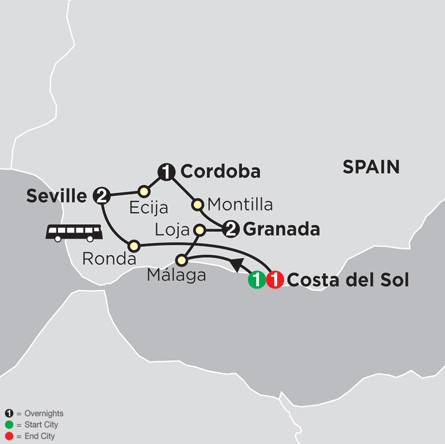 Itinerary map of Highlights of Andalusia 2018 - 8 days from Costa del Sol to Costa del Sol