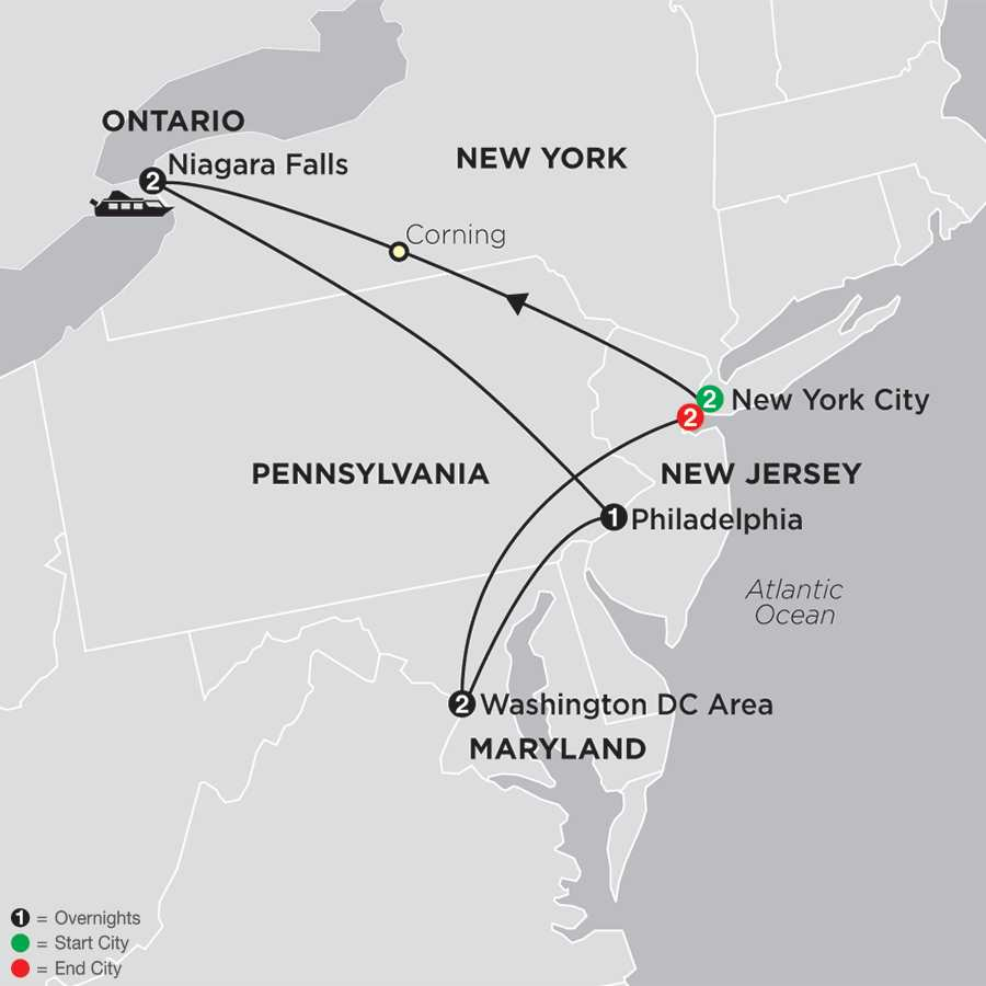 Itinerary map of New York, Niagara Falls & Washington DC with New York City 2018 - 10 days from New York City to New York City