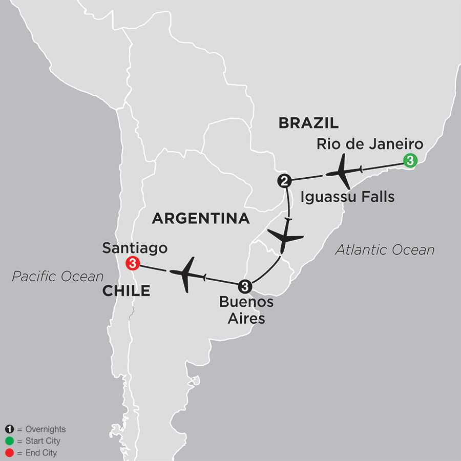 Itinerary map of Brazil, Argentina & Chile Unveiled 2019 - 12 days from Rio de Janeiro to Santiago