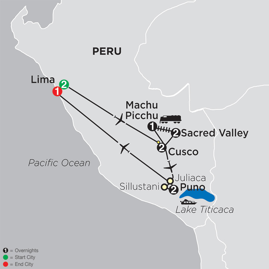 Itinerary map of Mysteries of the Inca Empire 2019 - 11 days from Lima to Lima