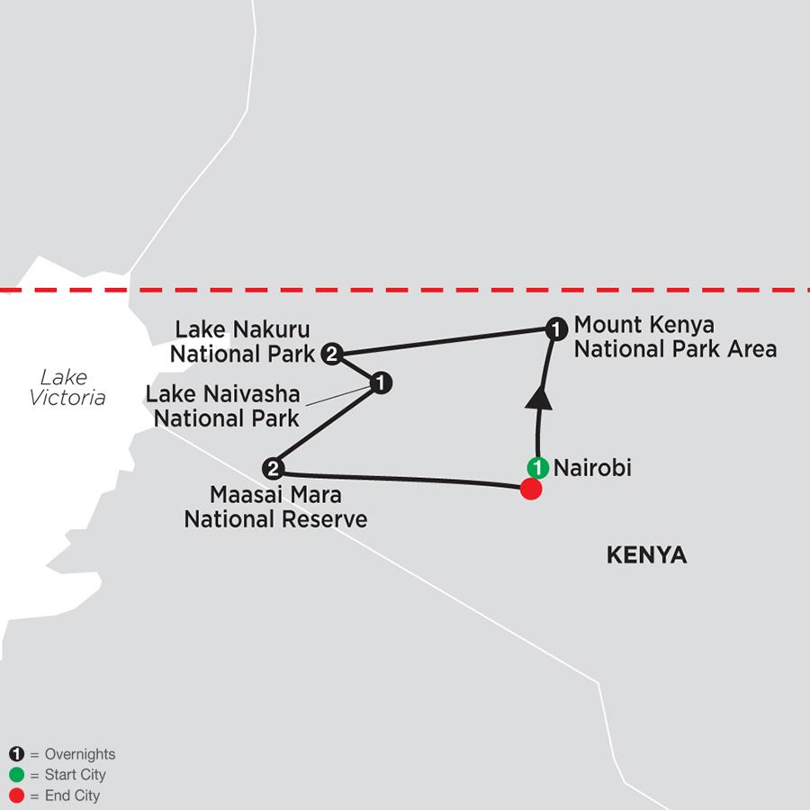 Itinerary map of On Safari in Kenya 2019 - 8 days from Nairobi to Nairobi