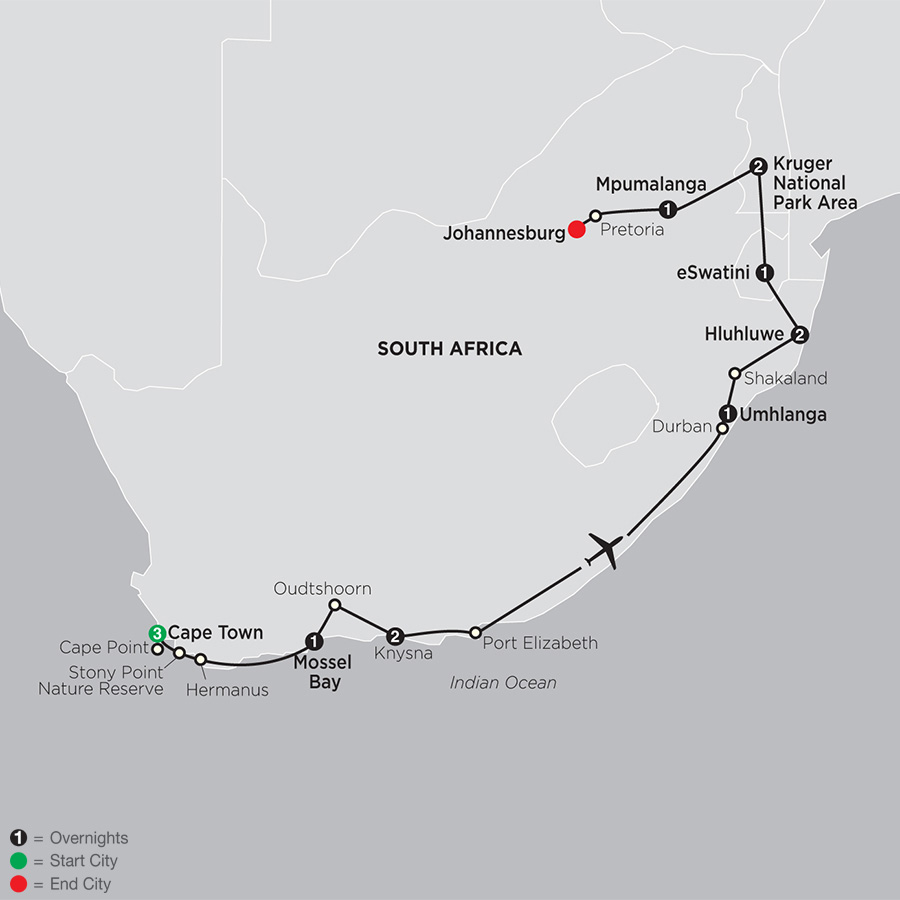 Itinerary map of South Africa: From the Cape to Kruger 2019 - 14 days from Cape Town to Johannesburg