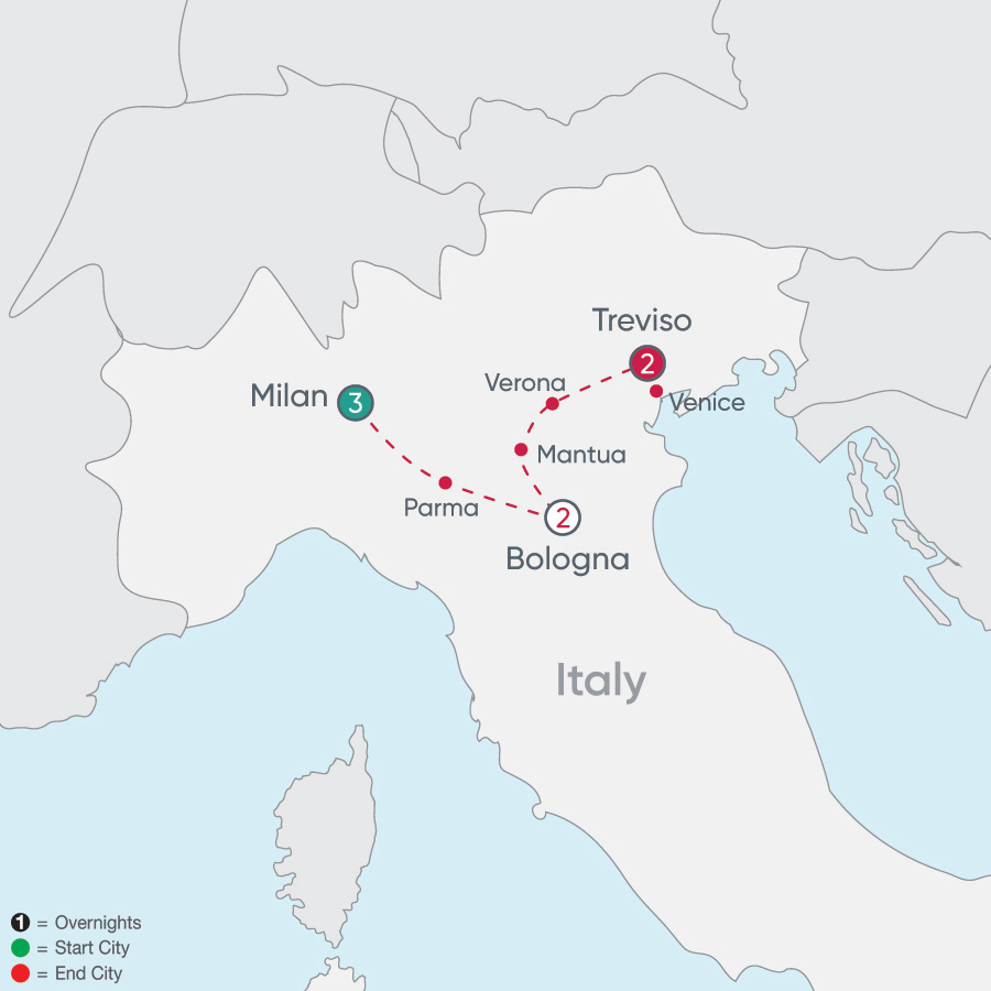 Itinerary map of Northern Italy Explorer 2019 - 8 days from Milan to Treviso