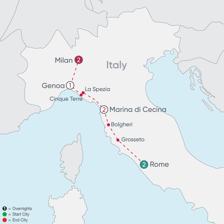 Itinerary map of Italian Explorer 2019 - 8 days from Rome to Milan