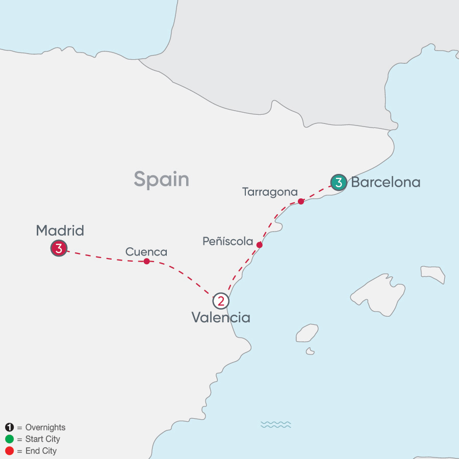 Itinerary map of Spanish City Explorer 2019 - 9 days from Barcelona to Madrid