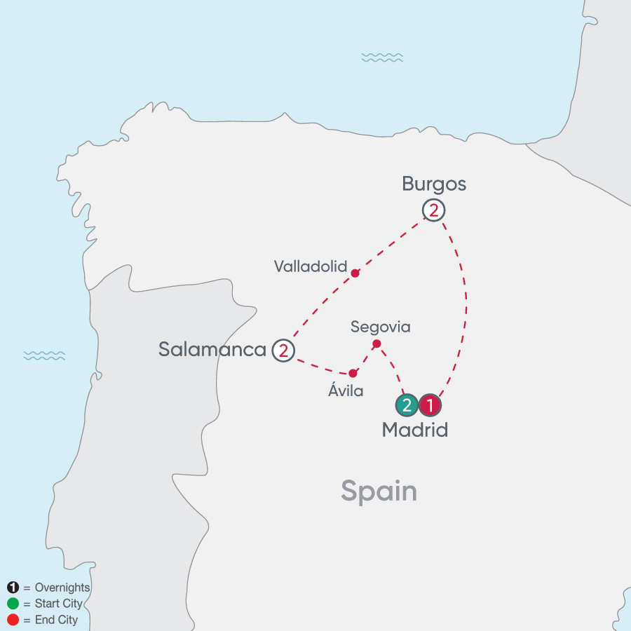 Itinerary map of Spanish Heritage Explorer 2019 - 8 days from Madrid to Madrid