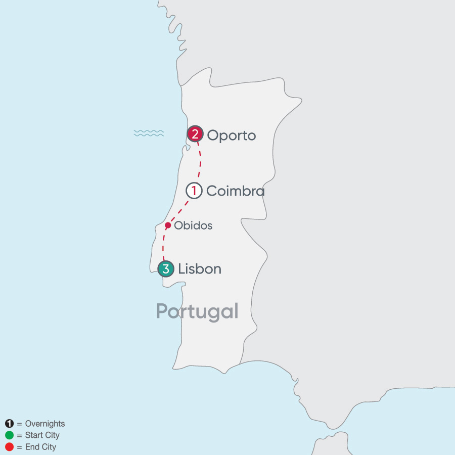 Itinerary map of Portugal Explorer 2019 - 7 days from Lisbon to Oporto