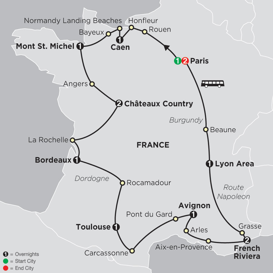 Itinerary map of Grand Tour of France 2019 - 14 days from Paris to Paris