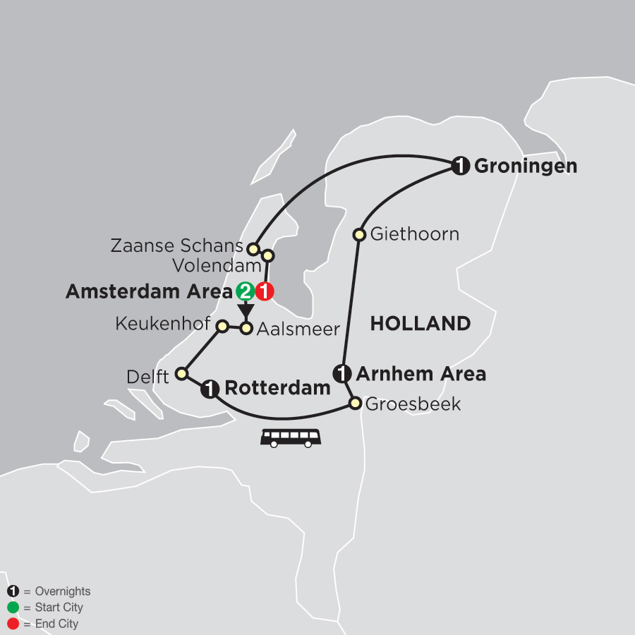 Itinerary map of Best of the Netherlands 2019 - 7 days from Amsterdam to Amsterdam