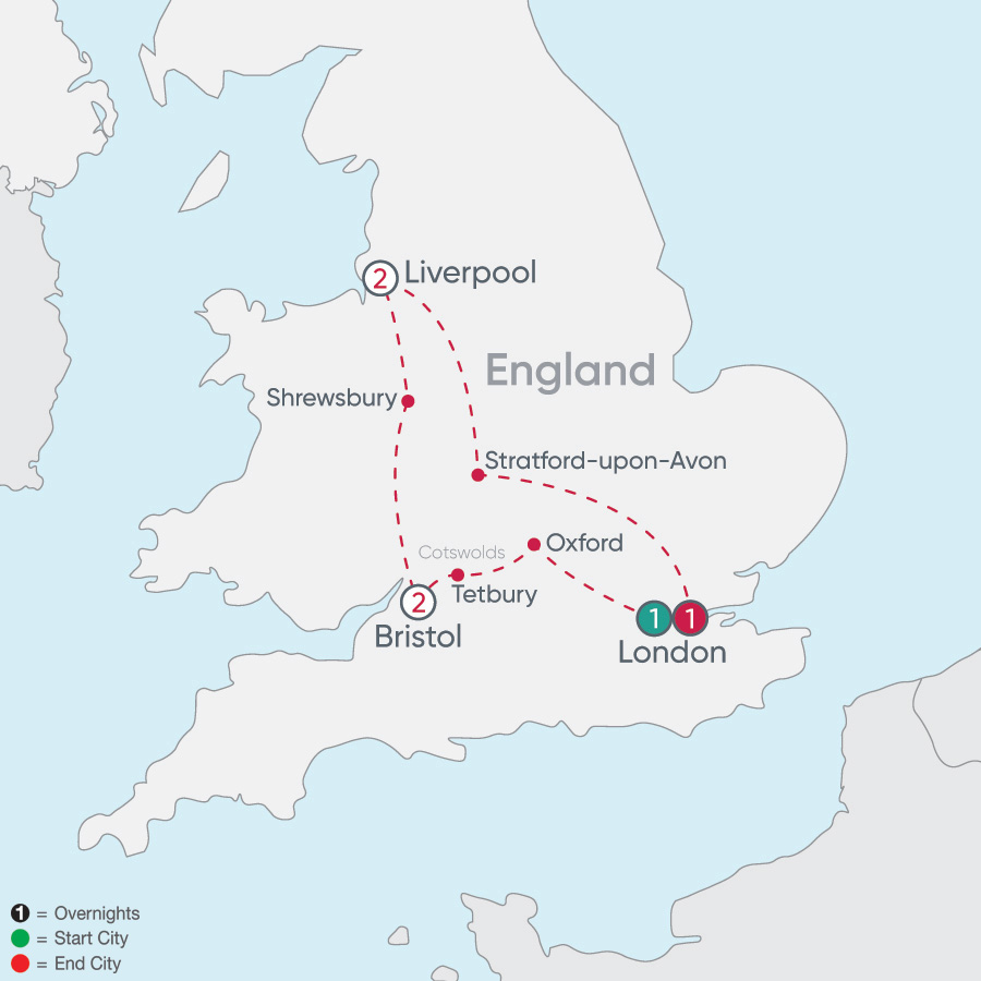 Itinerary map of England Explorer 2019 - 7 days from London to London