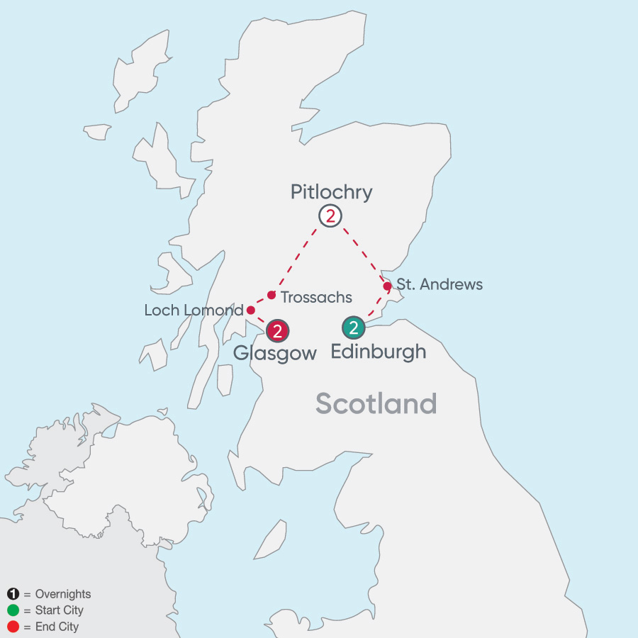 Itinerary map of Scotland Explorer 2019 - 7 days from Edinburgh to Glasgow