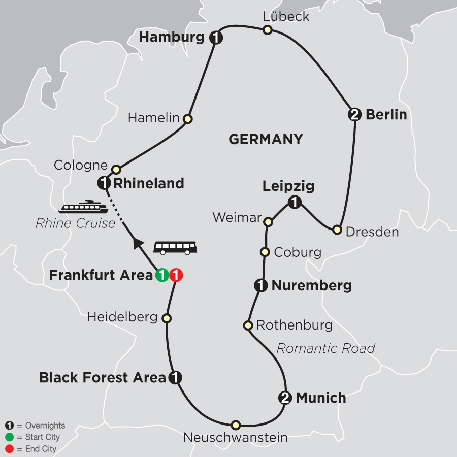 Itinerary map of Highlights of Germany 2019 - 12 days from Frankfurt to Frankfurt