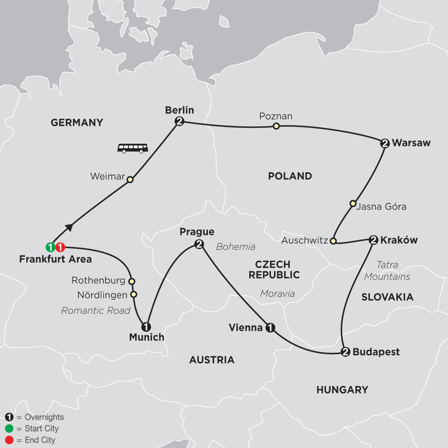 Map for Central Europe 2019 - 15 days from Frankfurt to Frankfurt