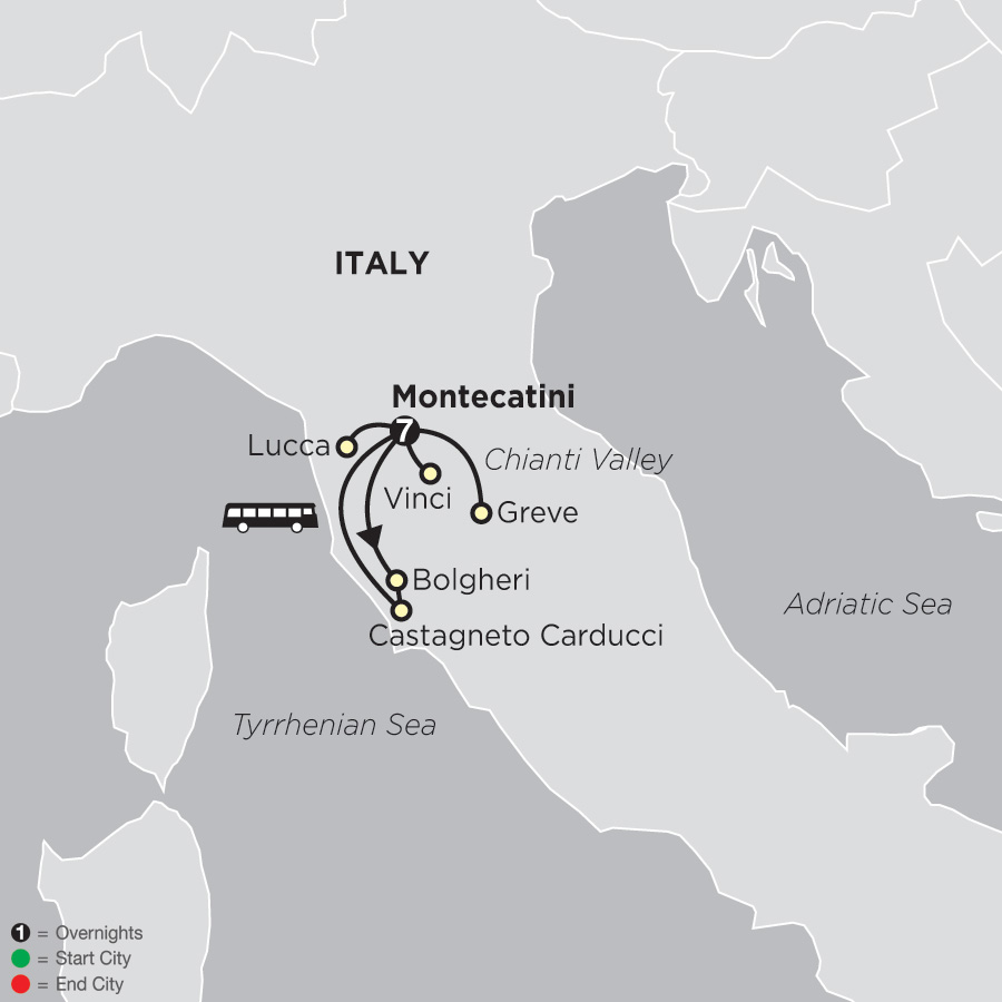 Itinerary map of Gourmet Tuscany 2019 - 8 days from Montecatini to Montecatini
