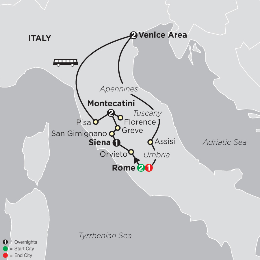 Itinerary map of The Splendors of Italy 2019 - 9 days from Rome to Rome