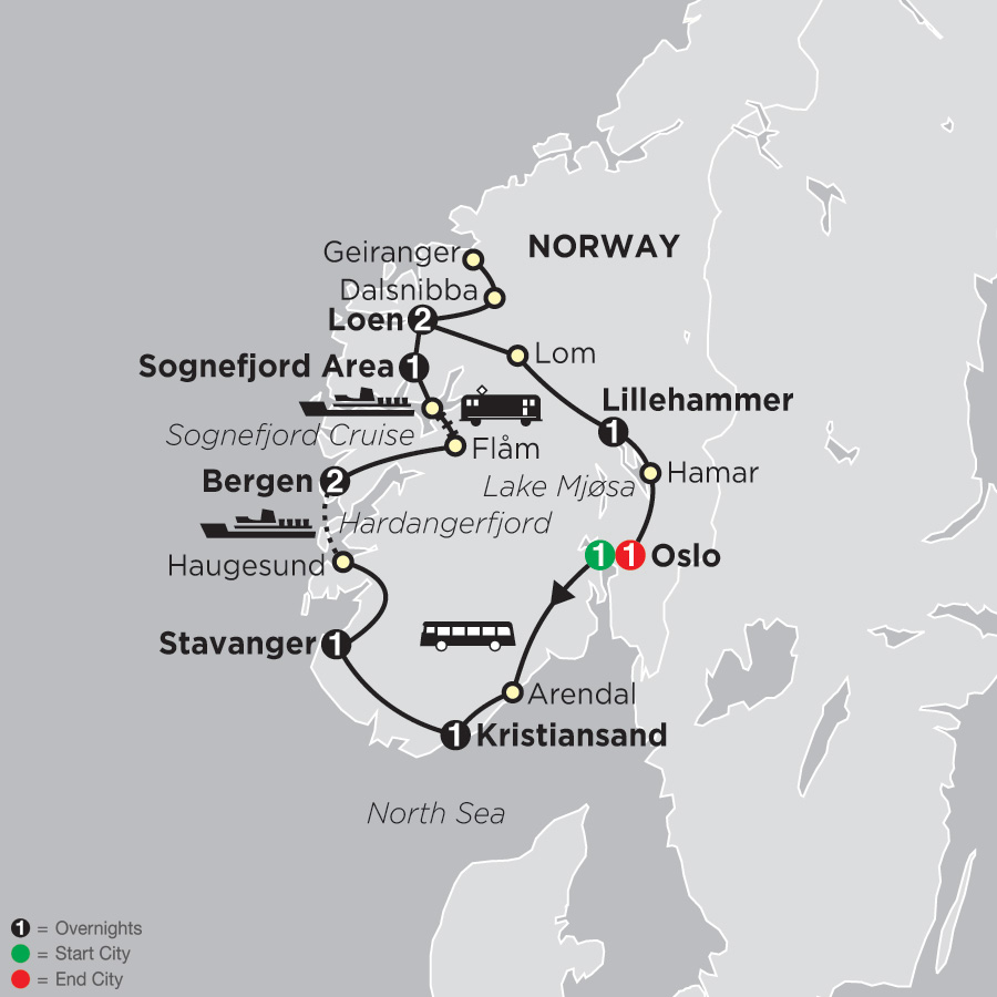 Itinerary map of Norwegian Fjords 2019 - 11 days from Oslo to Oslo