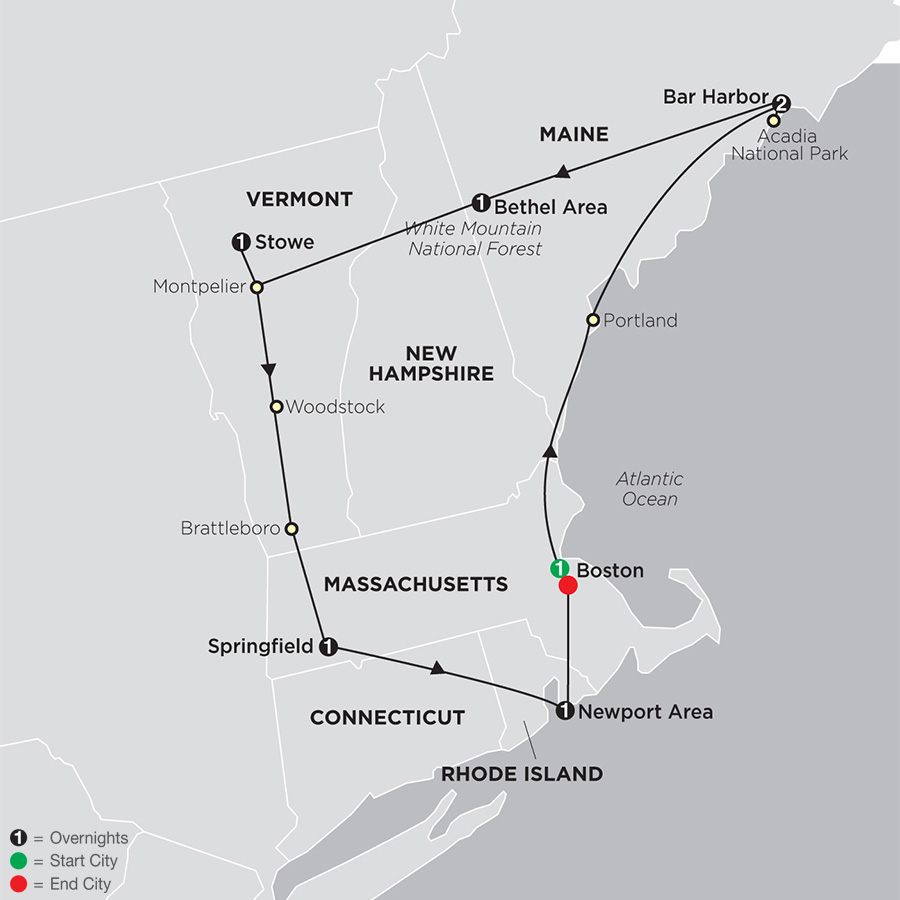 Itinerary map of Classic New England 2019 - 8 days from Boston to Boston
