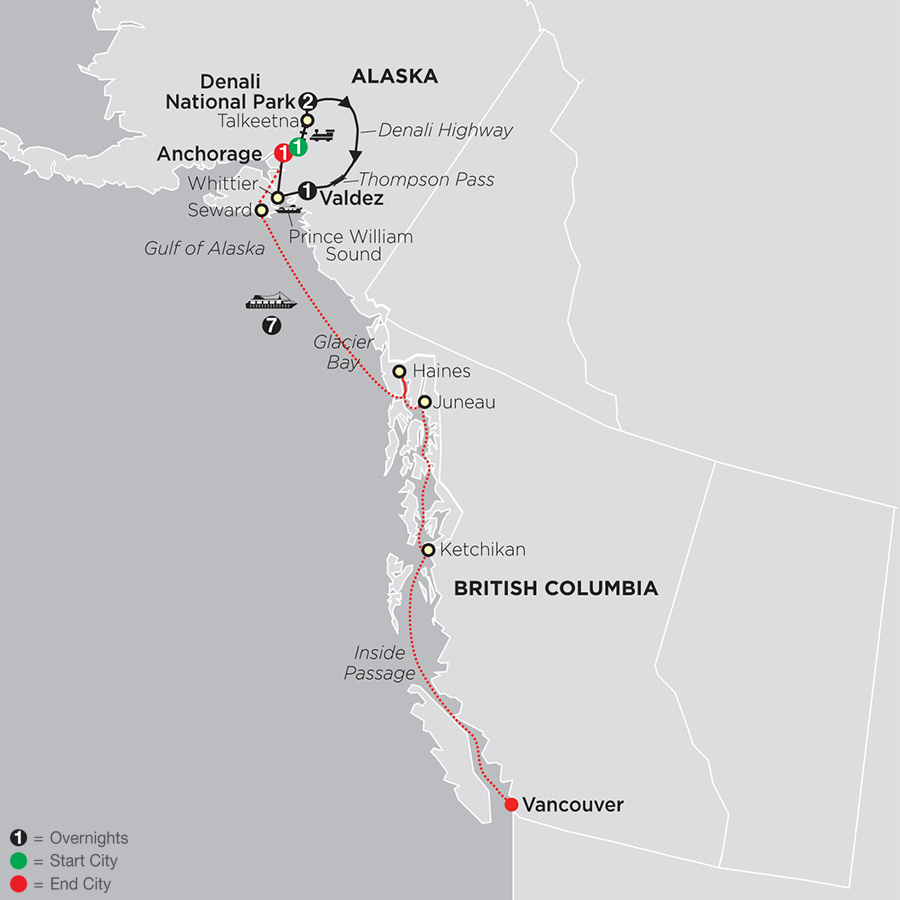 Itinerary map of Grand Alaskan Adventure 2019 - 7 days from Anchorage to Anchorage