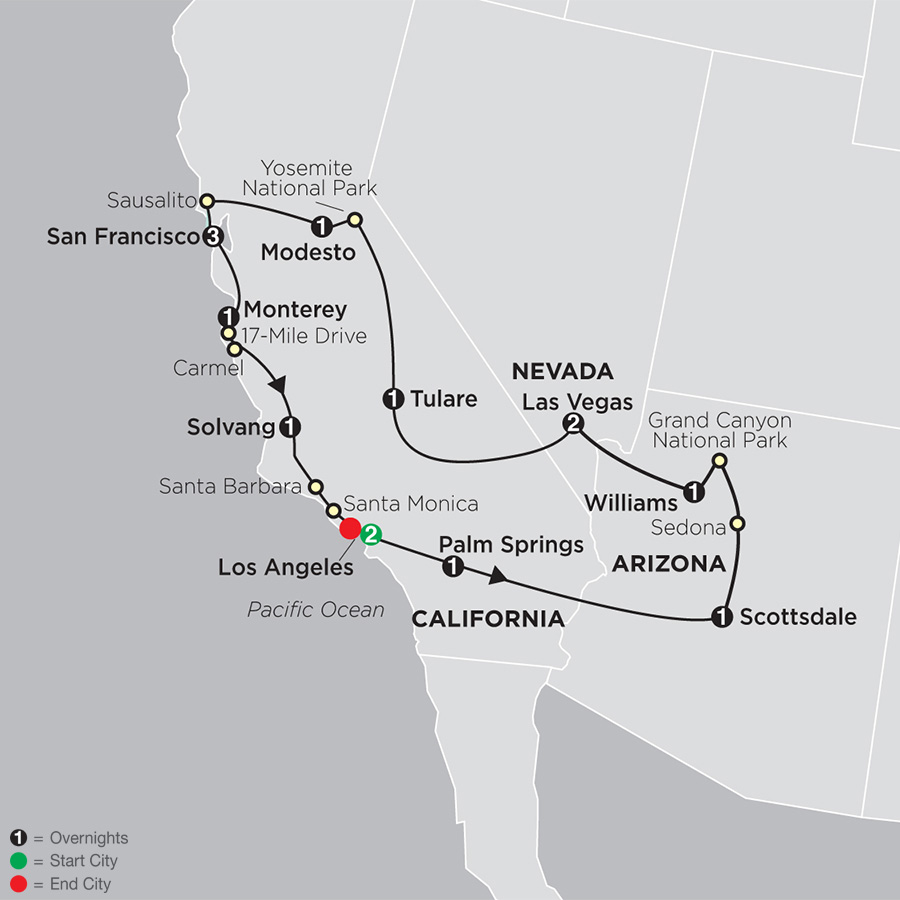 Itinerary map of Golden West Adventure 2019 - 15 days from Los Angeles to Los Angeles