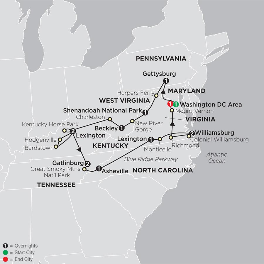 Itinerary map of Historic Trails & Blue Ridge Mountains 2019 - 14 days from Washington DC to Washington DC