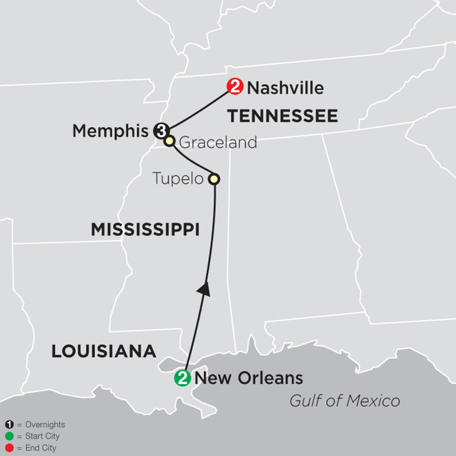 Itinerary map of Southern Sounds 2019 - 8 days from New Orleans to Nashville