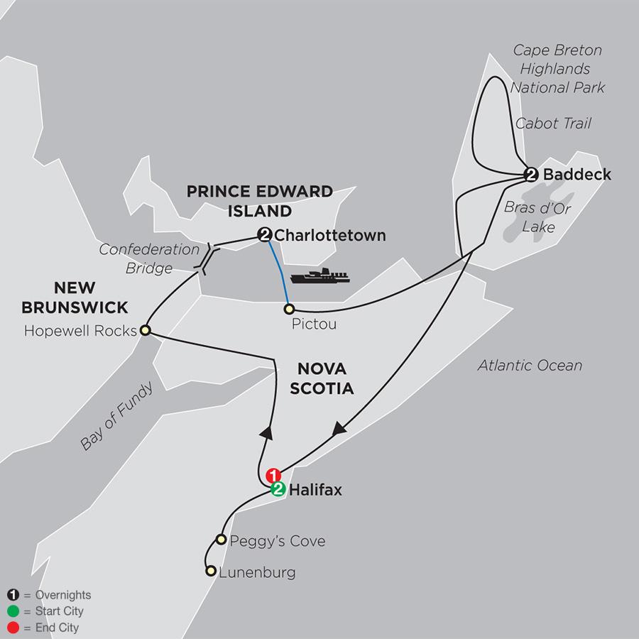 Itinerary map of Atlantic Canada