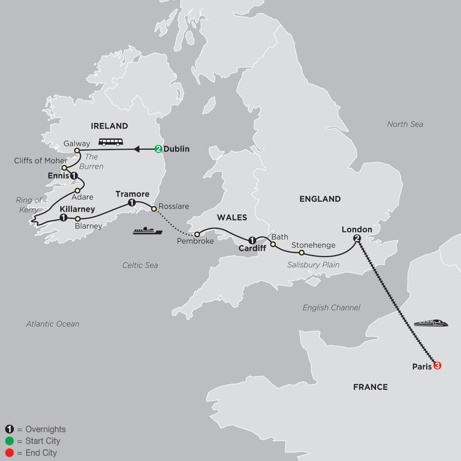 Itinerary map of From Dublin to London with Paris 2019 - 12 days from Dublin to Paris