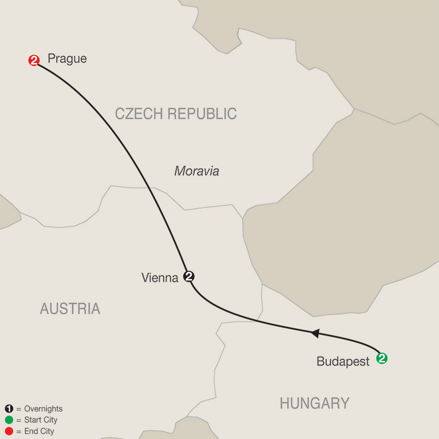 Itinerary map of Imperial Escape 2018 - 7 days from Budapest to Prague