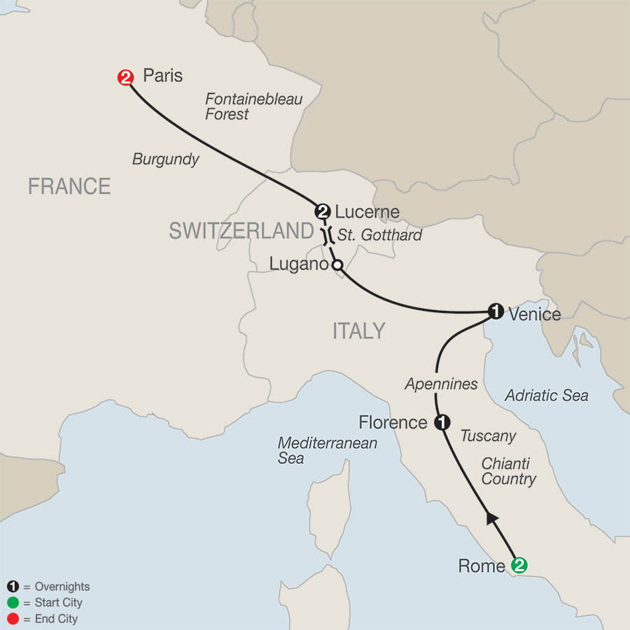 Itinerary map of European Escape 2018 - 9 days from Rome to Paris
