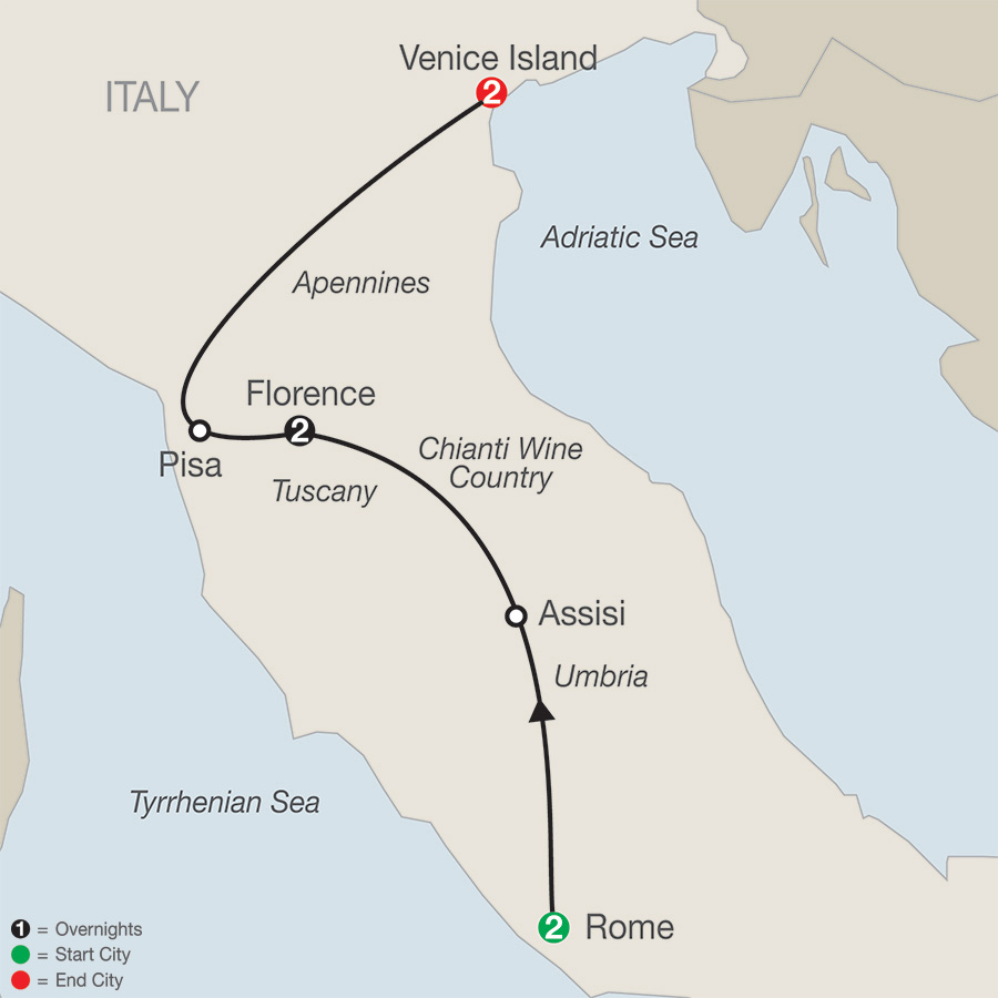 Itinerary map of Italian Escape 2018 - 7 days from Rome to Venice