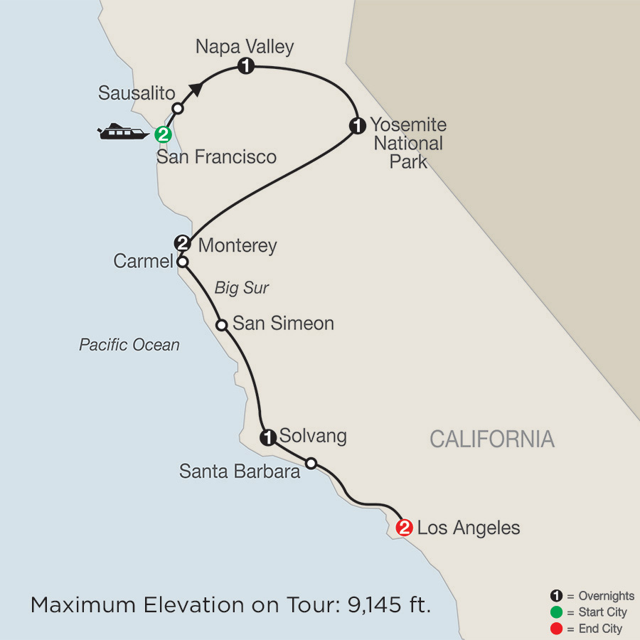 Itinerary map of California Classics 2019 - 10 days from San Francisco to Los Angeles