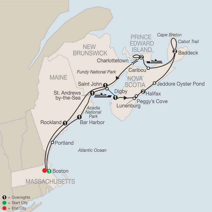 Itinerary map of Maritimes Adventure 2019 - 13 days from Boston to Boston