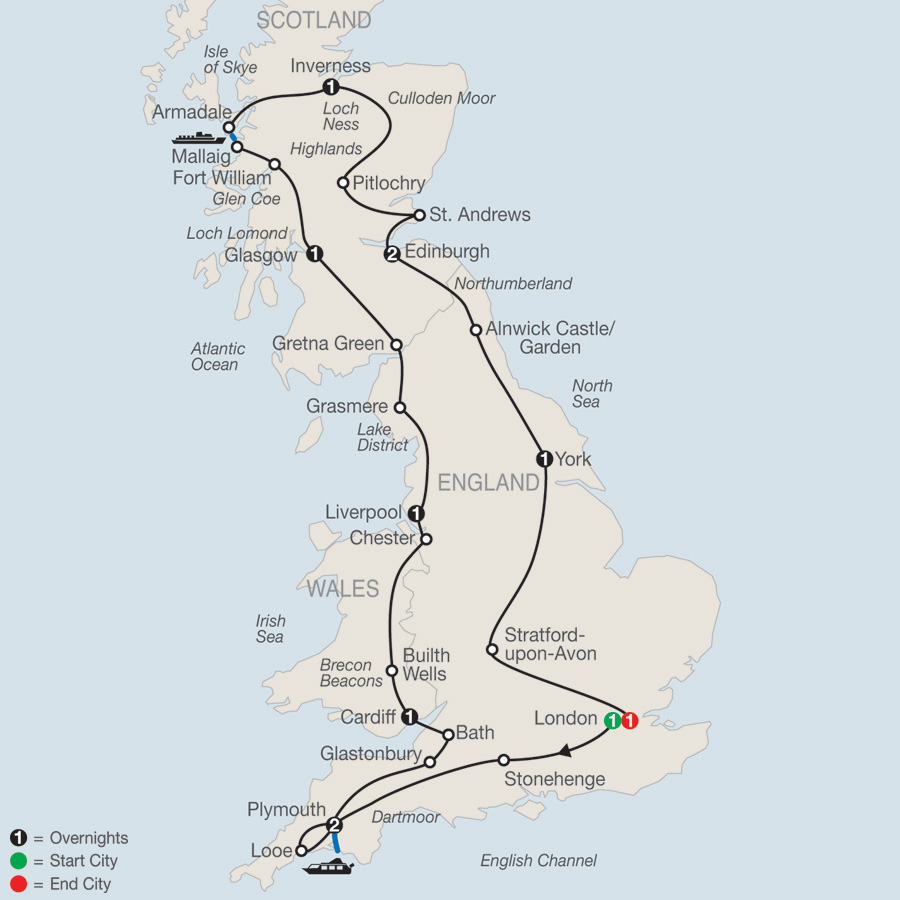 Itinerary map of Essential Britain 2019 - 12 days from London to London