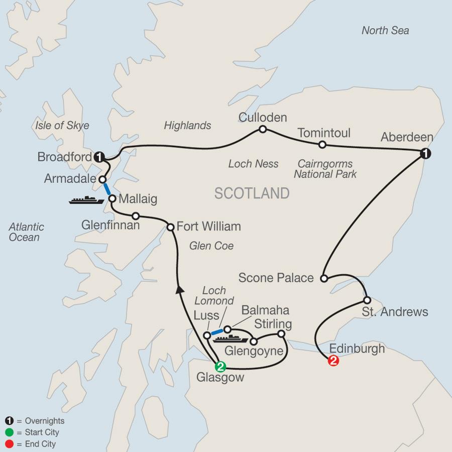 Itinerary map of Bonnie Scotland 2019 - 7 days from Glasgow to Edinburgh