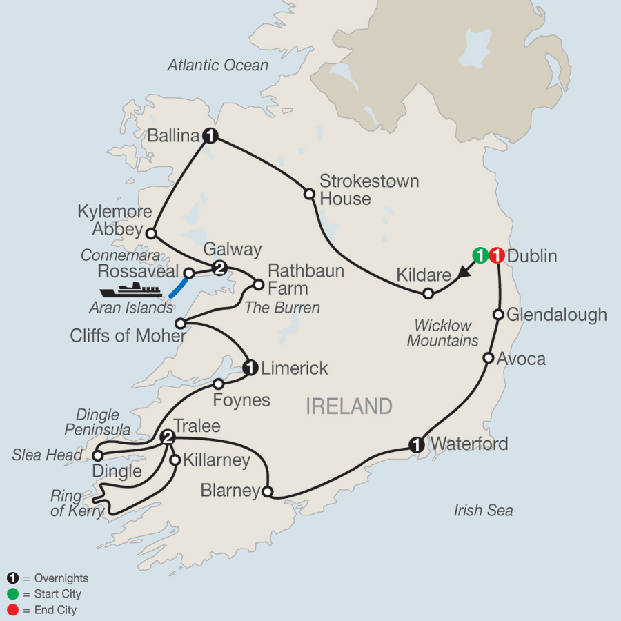 Itinerary map of Emerald Isle 2019 - 10 days from Dublin to Dublin