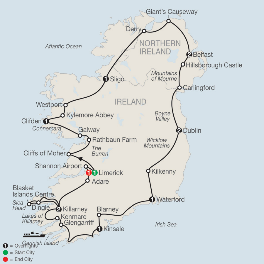 Itinerary map of Scenic Ireland 2019 - 13 days from Limerick to Limerick
