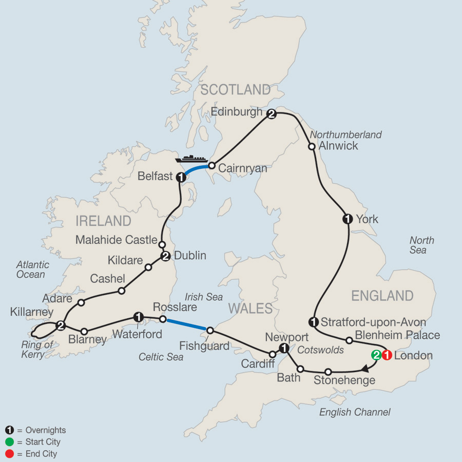 Itinerary map of Highlights of Britain & Ireland 2019 - 15 days from London to London