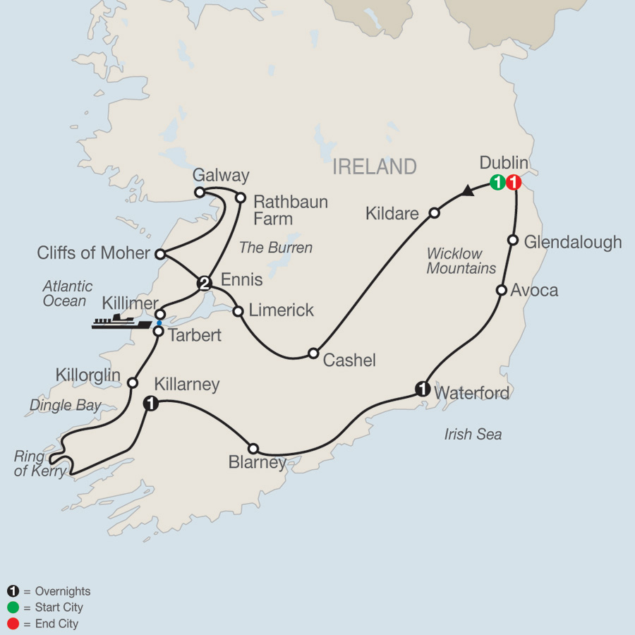 Itinerary map of Introduction to Ireland 2019 - 7 days from Dublin to Dublin