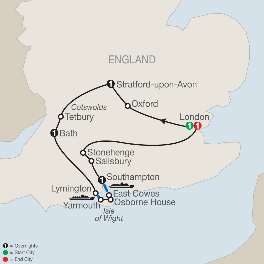 Itinerary map of Hidden Treasures of Southern England 2019 - 6 days from London to London