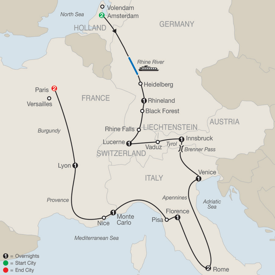 Itinerary map of European Tapestry 2019 - 14 days from Amsterdam to Paris