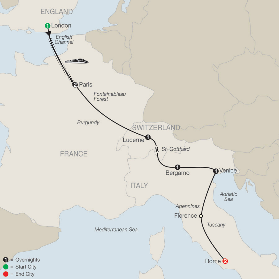Itinerary map of European Highlights 2019 - 9 days from London to Rome