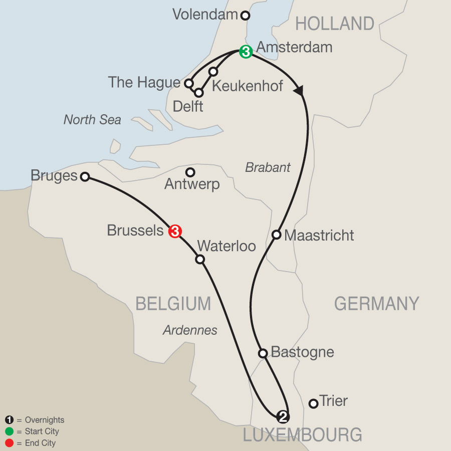 Itinerary map of Holland, Luxembourg & Belgium 2019 - 9 days from Amsterdam to Brussels